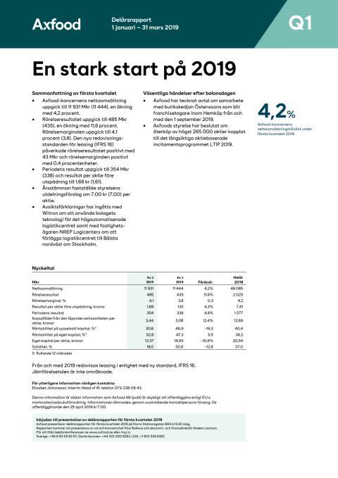 Axfood delårsrapport 2019 Q1
