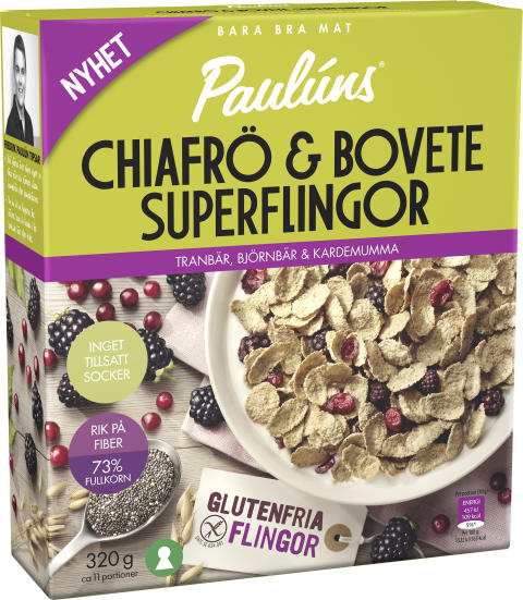 Paulúns Chiafrö & Bovete Superflingor – Tranbär, Björnbär & Kardemumma
