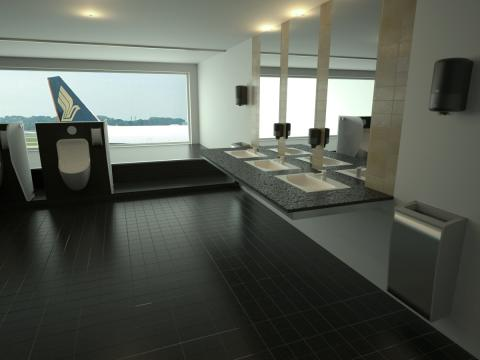 Bathroom scene with Tork BIM objects