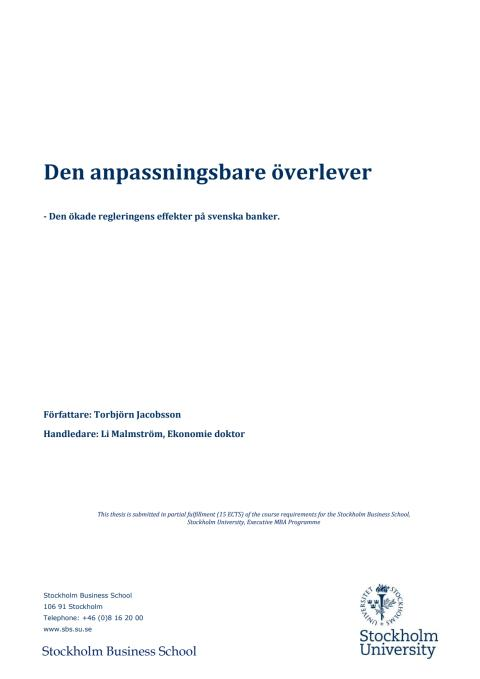 Den anpassningsbare överlever - EMBA Stockholms Universitet