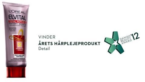 ELVITAL VINDER 'ÅRETS HÅRPLEJEPRODUKT' VED DANISH BEAUTY AWARD 2012