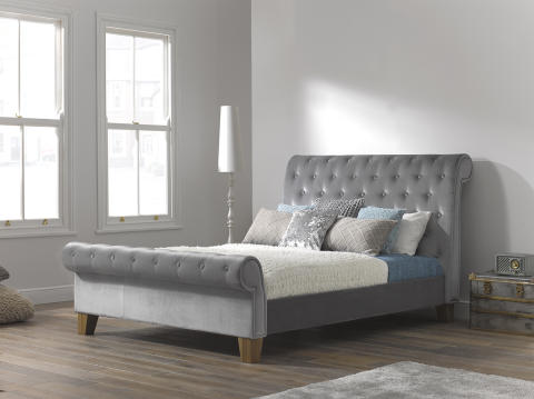 dreams como fabric bed frame in silver