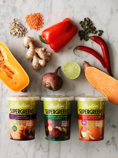 Färgstarka soppor från Paulúns som Sopporna innehåller 40 procent av dagsbehovet av grönsaker.