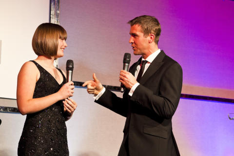 SportsAid alumnus Leon Taylor interviews SportsAid athlete Millie Knight at the SportsBall in 2013