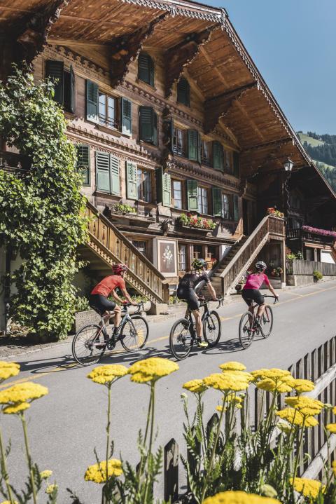 Roadbiker Gruppe bei der Fahrt durch das malerische Rougemont