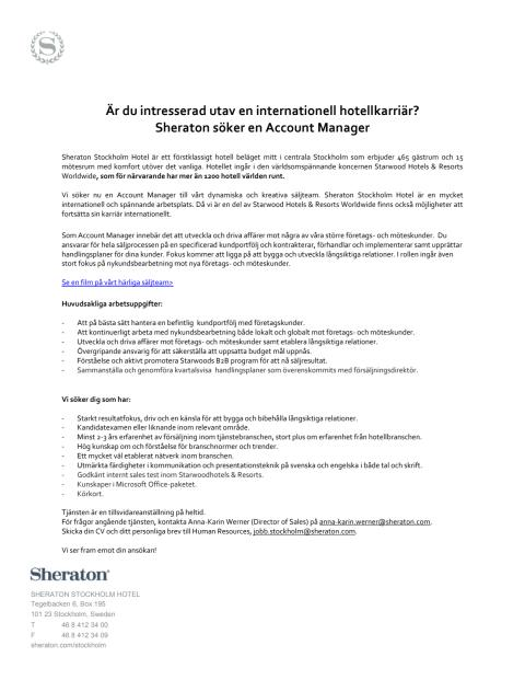 Account Manager Sheraton Stockholm Hotel