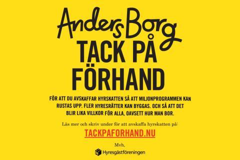 Tack på förhand, Anders Borg!