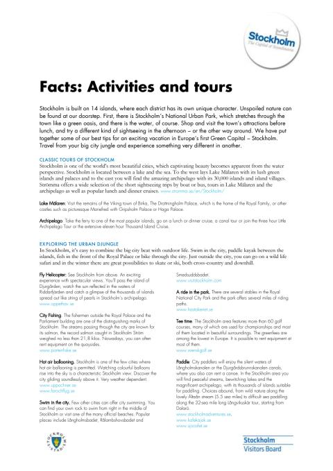 Facts: About activities and tours in Stockholm