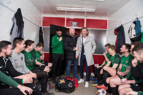 John Hartson and Robbie Savage take first steps into Sunday league football
