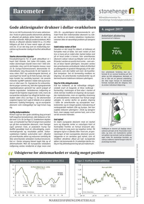Barometer: Gode aktiesignaler drukner i dollar-svækkelsen