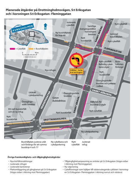 Karta: Planerade åtgärder vid Fridhemsplan