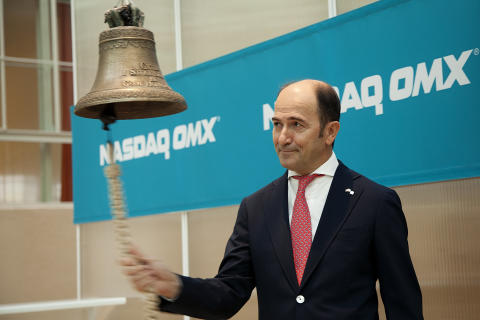 Cavotec CEO Ottonel Popesco rings the OMX trading bell. #Cavotec #OMX