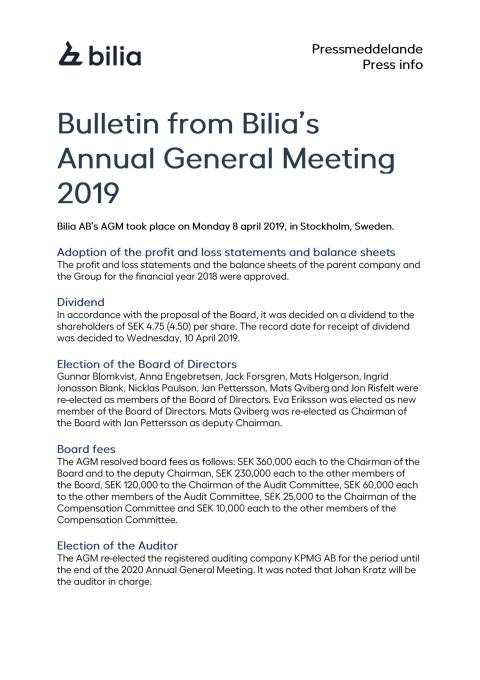 Bulletin from Bilia's Annual General Meeting 2019