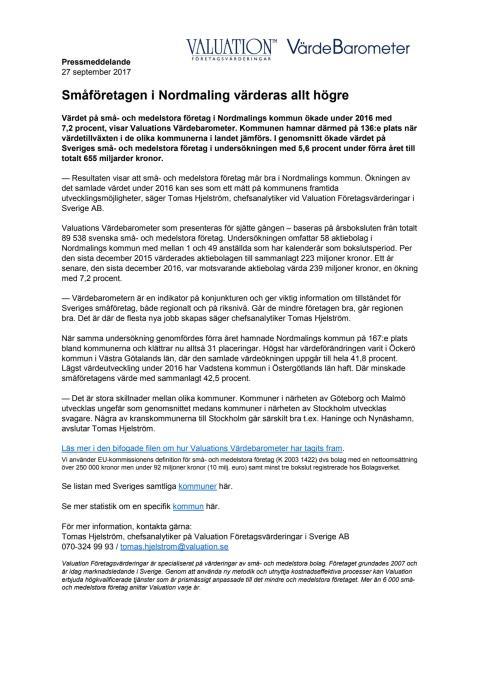 Värdebarometern 2017 Nordmalings kommun