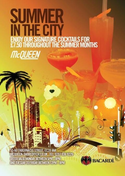 Summer in the city - Enjoy our signature cocktails for £7.50 at McQueens