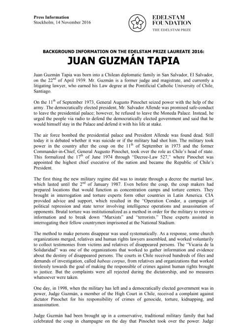 BACKGROUND INFORMATION ON THE EDELSTAM PRIZE LAUREATE 2016: JUAN GUZMÁN TAPIA