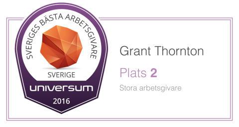 Sveriges Bästa Arbetsgivare 2016: Grant Thornton klättrar till andra plats - branschbäst för fjärde året i rad