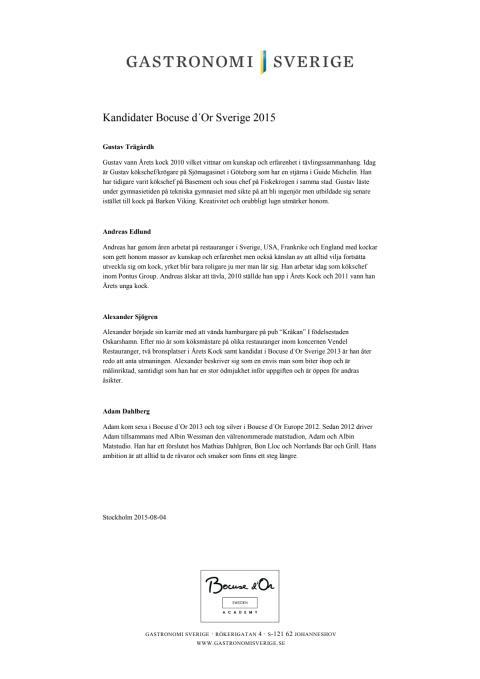 Kandidater Bocuse d´Or Sverige 2015