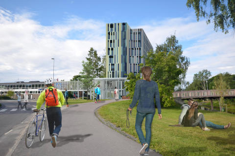 Skiss nya hotellet på Kanaludden