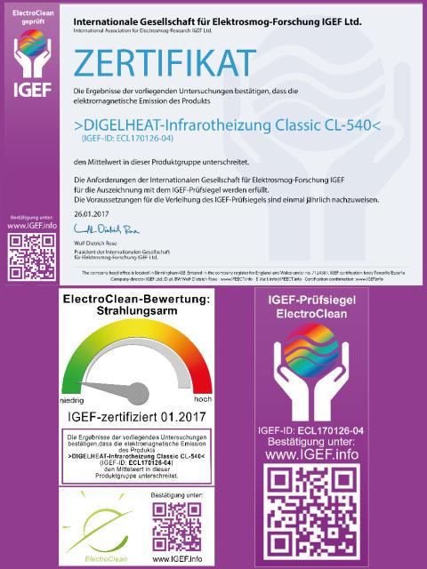 DIGEL HEAT Infrarotheizungen ist Elektroclean geprüft und zertifiziert!