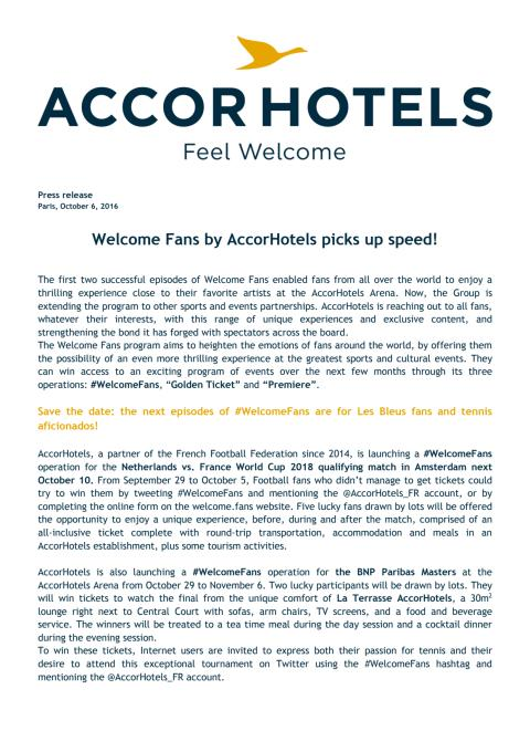 Press Release - Welcome Fans by AccorHotels