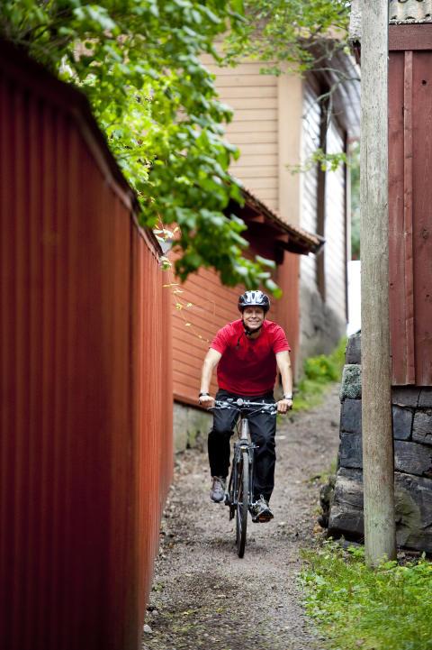 Cykelfärd genom staden