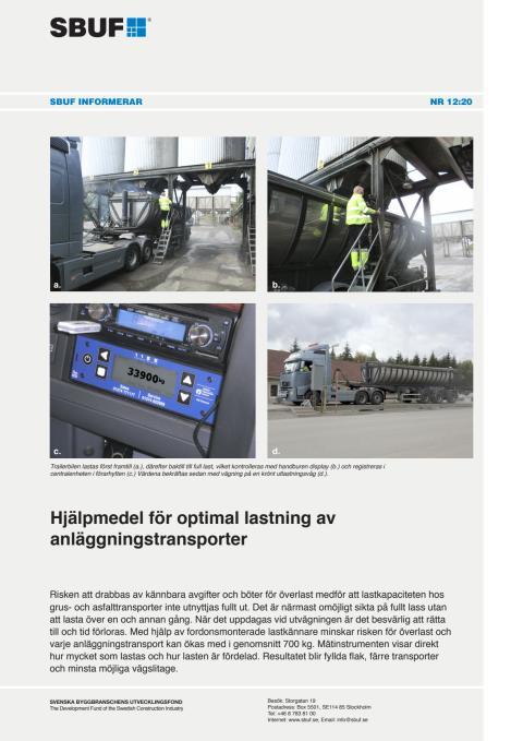 SBUF Informerar, nr. 12-20 Hjälpmedel för optimal lastning av anläggningstransporter