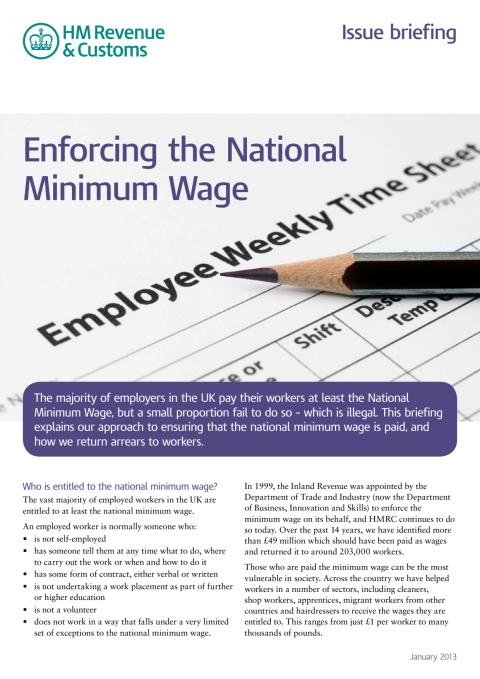 HMRC Briefing - Enforcing the National Minimum Wage