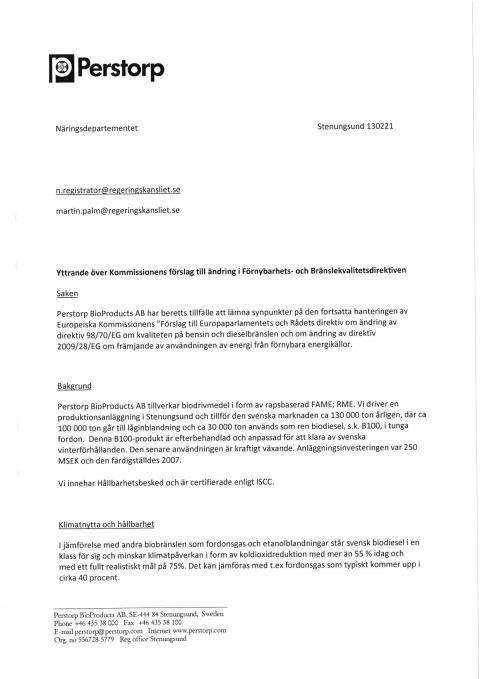 Perstorps yttrande över EU-kommissionens ILUC-förslag