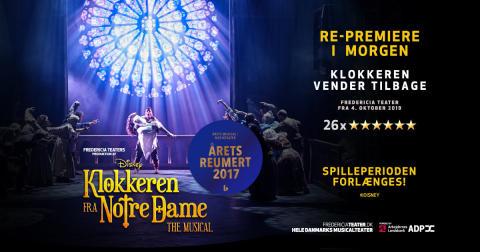 Fredericia Teater forlænger igen spilleperioden på Disneys KLOKKEREN FRA NOTRE DAME forud for repremiere