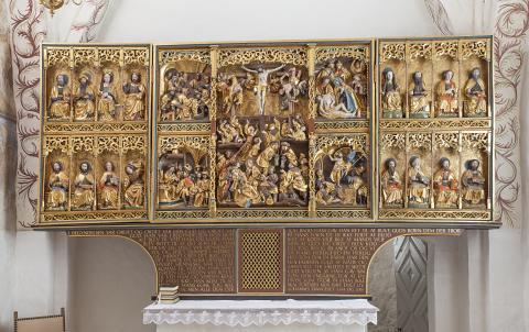 Altertavlen i Sanderum Kirke - fra Danmarks Kirker