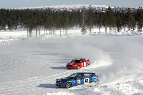 Rally Car Driving on Snow Track