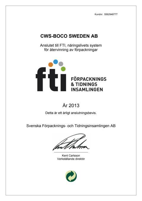 FTI - Förpacknings- & Tidningsinsamlingen certifikat för 2013