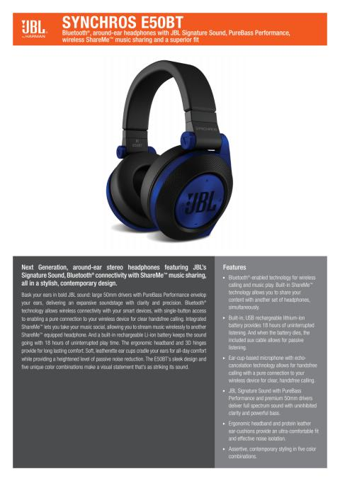Produktspecifikation JBL E50 BT