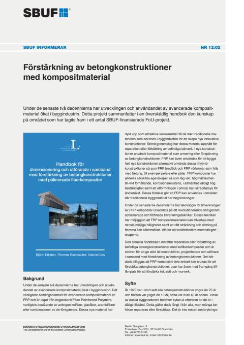 SBUF Informerar, nr. 12-02 Förstärkning av betongkonstruktioner med kompositmaterial