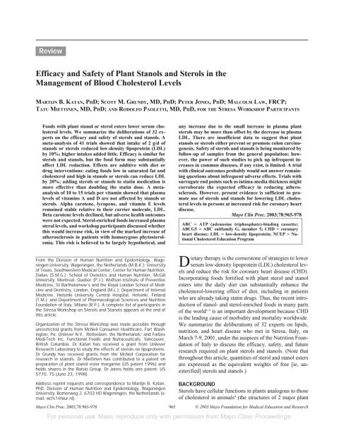 "Studie om växtsteroler och statiner: ""Efficacy and safety of plant stanols and sterols in the management of blood cholesterol levels."""