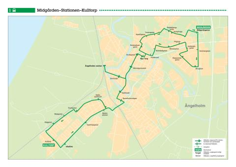 Stadsbuss linje 1 i Ängelholm, karta och tidtabell, gäller från 13 augusti 2017.