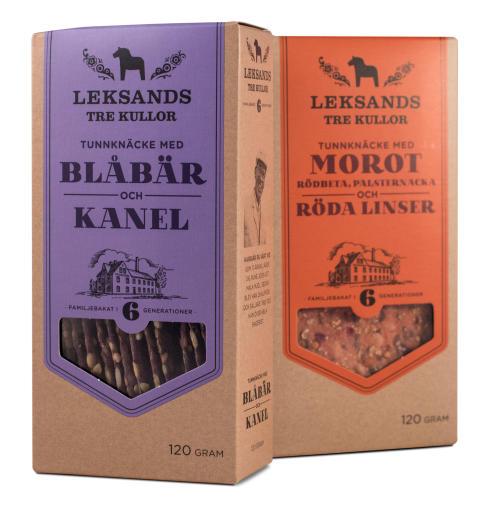 Leksands Knäckebröd lanserar exklusiv, smakrik duo med Blåbär och Kanel samt Morot och Röda Linser