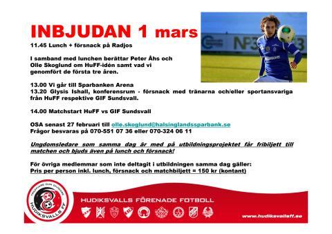 Inbjudan till lunch och försnack inför HuFF vs GIF Sundsvall i Svenska Cupen 1 mars.