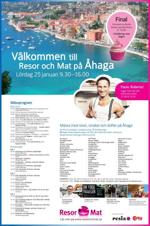 Mässprogram till Resor och Mat på Åhaga 25 januari