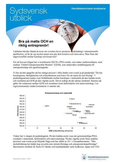 Bra på matte och en riktig entreprenör. Sydsvensk utblick 1 2010