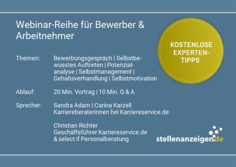 Webinar-Reihe: stellenanzeigen.de bietet Experten-Tipps für Bewerbung und Karriere