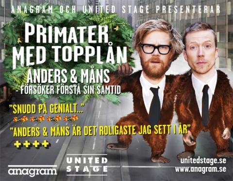 """Anders och Måns humorsuccé """"Primater med topplån"""" fortsätter i höst"""