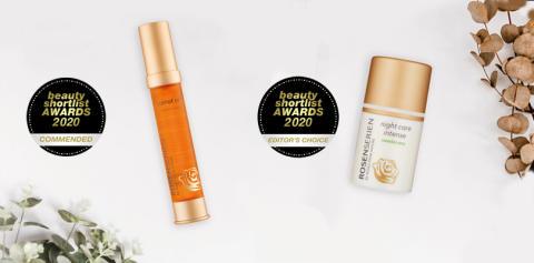 Rosenserien vinner två priser i internationell tävling för naturliga hudvårdsprodukter