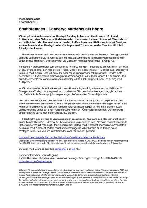 Värdebarometern 2015 Danderyds kommun