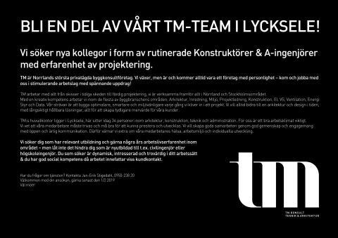 Bli en del av vårt TM-Team!