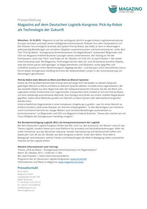 PM Magazino auf dem Deutschen Logistik-Kongress 15.10.15