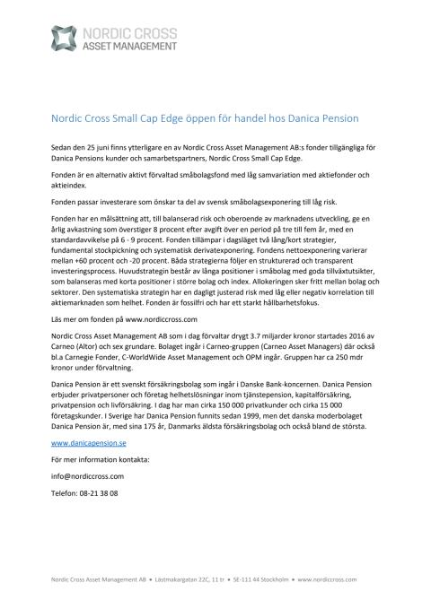 Nordic Cross Small Cap Edge öppen för handel hos Danica Pension