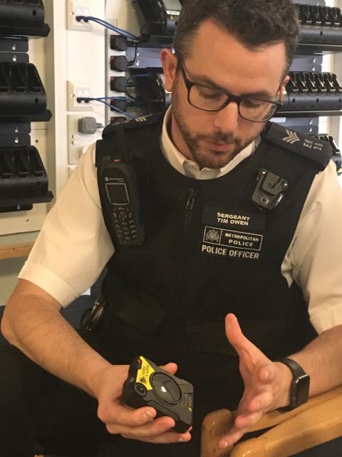 Sgt Tim Owen showing body worn video
