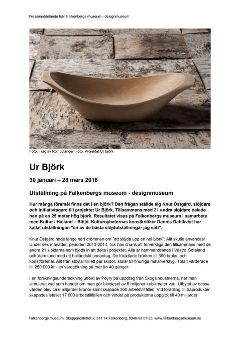 Pressmeddelande Ur Björk, Falkenbergs museum